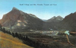 Banff Village and Mt. Rundle, Alberta, Canada, Early Postcard, Unused