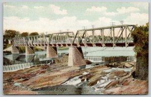 Waterville Maine~Railroad Bridge Over Dam~Homes Behind~Powerlines~c1910 PC