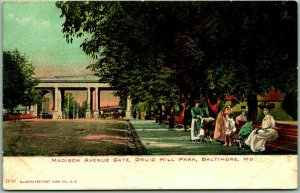 1900s Baltimore, Maryland Postcard Madison Avenue Gate, DRUID HILL PARK Unused