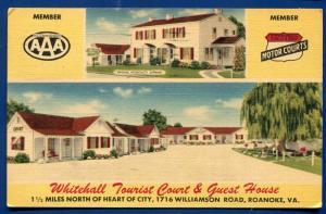 Whitehall Tourist Court Guest House Roanoke Virginia va linen postcard