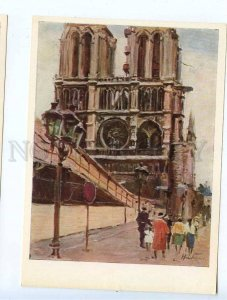 260367 USSR Armenia Nalbandyan Paris Notre Dame Cathedral 1966 year postcard