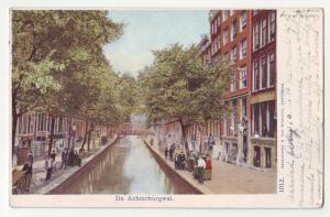 P1178 old used postcard de achterburgwal people canal netherlands