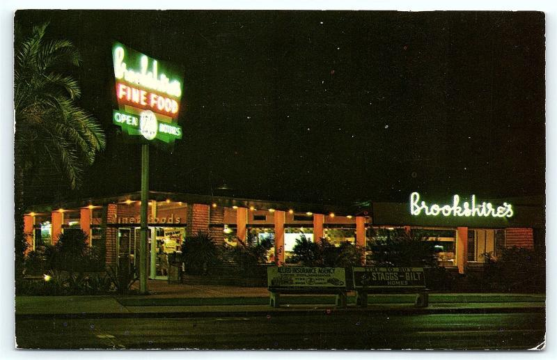 Postcard Az Phoenix Brookshires Fine Foods Restaurant 1950s E08