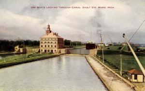 MI - Sault Ste. Marie. Ore Boats in the Locks