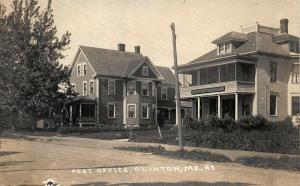 Clinton ME Post Office Eastern Illustrating Publisher Real Photo Postcard