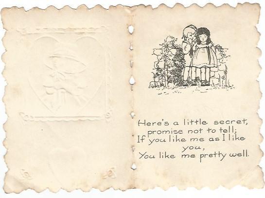 Valentine's Day Card Die Cut Little Girl Yellow Dress in Gold Gild Heart