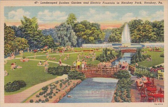 Pennsylvania Hershey Landscaped Sunken Garden And Electric Fountain In Hershe...