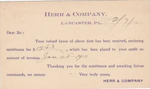 Pennsylvania Lancaster Herr & Company 1911