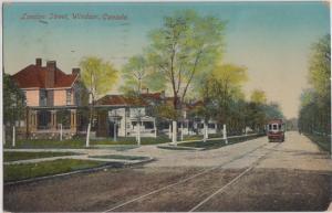WINDSOR Ontario CANADA - LONDON STREET + TROLLEY 1911