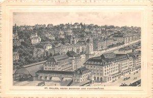 St Gallen, Neuer Bahnhof und Postgebaude Switzerland 1914