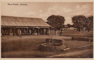 Meat Butcher Market Jullunder Punjab Old Real Photo Indian Postcard
