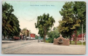Newton Centre MA~Centre Street Store Awnings~Ladies on Corner~Horse Trough~1911