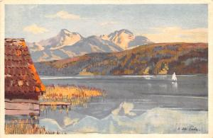 Switzerland Old Vintage Antique Post Card Water and Mountain Scene Unused