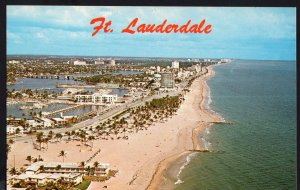Florida ~ Aerial View of Ft. Lauderdale with Bahia Mar Chrome 1950s-1970s