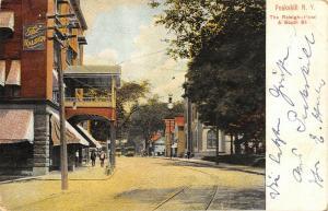 Peekskill New York~Raleigh Hotel~South Street Trolleys~Men on Sidewalk~c1910