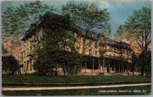 Kane, Pennsylvania Postcard KANE SUMMIT HOSPITAL Building View 1916 Cancel