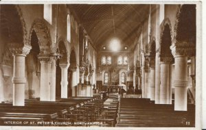 Northamptonshire Postcard - Interior of St Peter's Church - Real Photo Ref 2476A