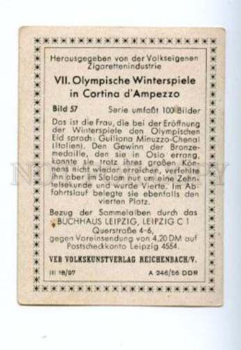 166986 Olympic GIULIANA MINUZZO-CHENAL skier CIGARETTE card