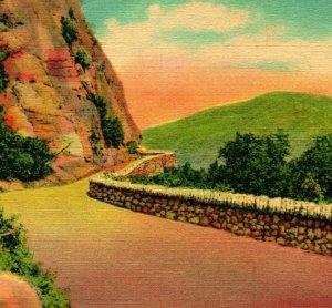Hudson Fiume Ny New York Storm King Autostrada Unp Vtg Lino Cartolina