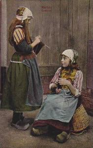 Two Girls Sewing, Costume, Marken (North Holland), Netherlands, 1900-1910s