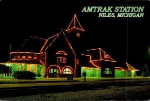 Michigan Niles Amtrak Rail Passenger Station At Night