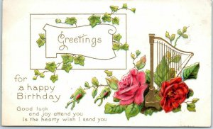 c1910s Embossed Postcard Greetings for a Happy Birthday Pink & Red Roses