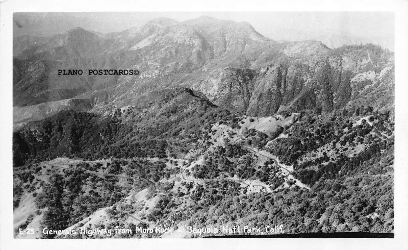 SEQUOIA NAT. PARK, CALIFORNIA GENERAL'S HWY FROM MORO ROCK RPPC REAL PHOTO P.C