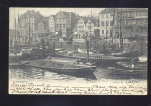 HAMBURG GERMANY STEINHOFT BOATS CANAL ANTIQUE VINTAGE POSTCARD 1901