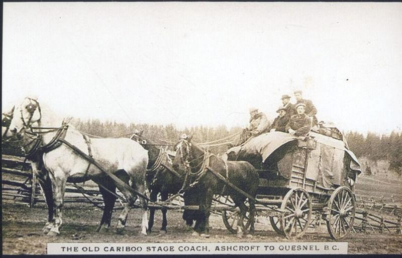 REAL PHOTO THE OLD CARIBOO STAGE COACH ASHCROFT TO QUESNEL B.C. POSTCARD COPY