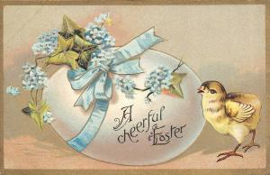 Easter~Blue Ribbon Wrap Exaggerated Egg~Chick~Gold Leaf Embossed~Series D No 1