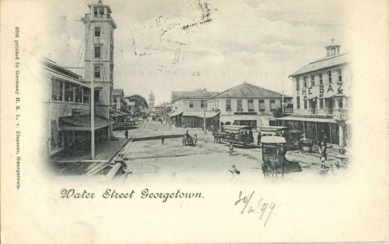 british guiana, GEORGETOWN, Water Street, Tram (1899) Postcard