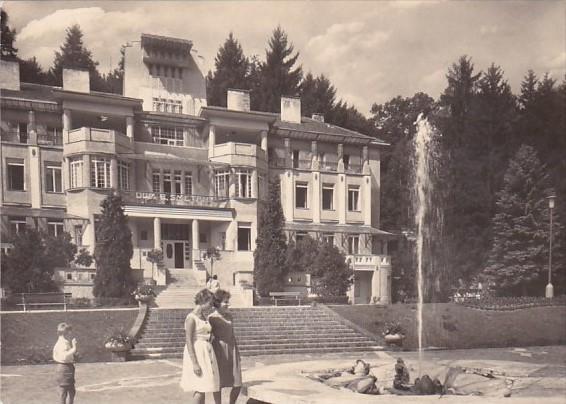 Czech Republic Luhacovice Bruselska Fountain and Smetana House