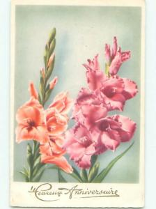 Very Old Foreign Postcard BEAUTIFUL FLOWERS SCENE AA4680