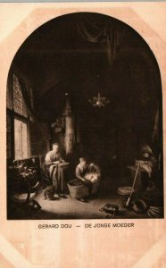 Mauritshuis The Hague Netherlands The Young Mother Gerrit Dou Vintage Postcard