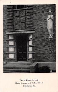 PITTSBURGH PENNSYLVANIA SACRED HEART CONVENT~SHADY AVE & WALNUT POSTCARD c1940s