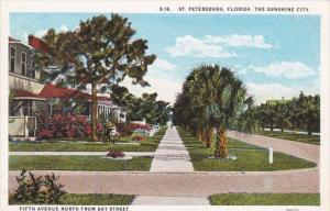 Florida St Petersburg Fifth Avenue Looking NOrth From Bay Street Curteich