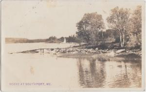 Maine Me Real Photo RPPC Postcard 1912 SOUTHPORT Sailboat Shore Lake Cottages