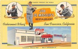 Baseball Postcard Base Ball Post Card Jo Di Maggio's Restaurant Baseball Pos...