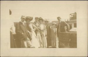 People w/ Steamer Truck RI Written on Back - Narragansett? c1910 RPPC