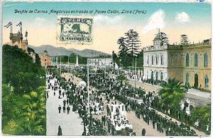 VINTAGE POSTCARD: PERU - LIMA: DESFILE 1925