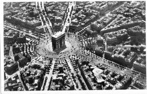 VTG Postcard Paris France En Avion L'Arc de Triomphe et place de l'Etolle RPPC
