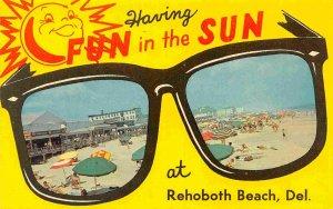Having Fun In The Sun Giant Sunglasses Rehoboth Beach Delaware postcard