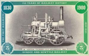 0-2-4 Vertical Cylinder 1833 Dundee Newcastle Train Railway Postcard
