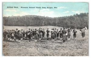 Early 1900s Artillery Band, Wisconsin National Guard, Camp Douglas, WI Postcard