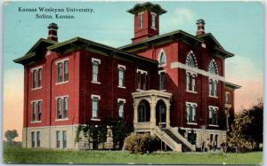 Salina, Kansas Postcard KANSAS WESLEYAN UNIVERSITY Main Building 1915 Cancel