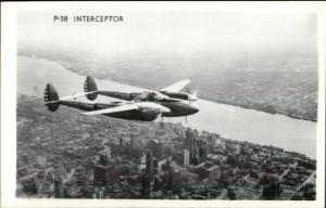 WWII Military Aircraft P-38 Interceptor in Flight Vintage Real Photo Postcard