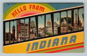 Indianapolis IN, LARGE LETTER Greetings, Indiana Linen c1956 Postcard