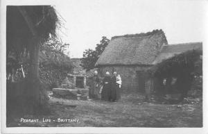 Brittany France Peasant Life Real Photo Antique Postcard J50856