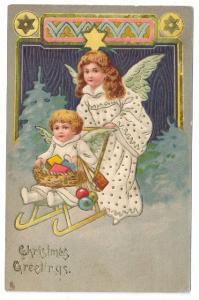 Vintage Christmas Postcard Angel Pushing Child Sled 1907 Raphael Tuck Embossed