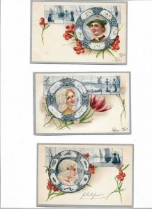 Fantasy - Art Nouveau Sailor Fishers Embossed Postcard Lot of 5 01.07